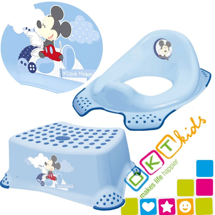 Okt baby toddler toilet training seat step stool disney mickey mouse anti slip ebay - Mickey mouse stool ...