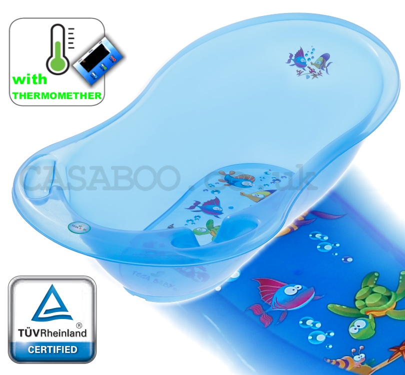 aqua lux large baby bath baby tub with thermometer 102 cm baby tub blue ebay. Black Bedroom Furniture Sets. Home Design Ideas